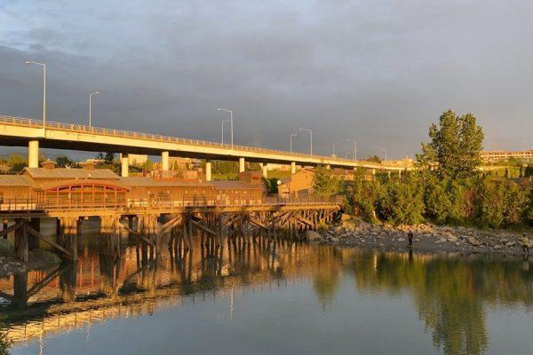Ship Creek runs through downtown Anchorage
