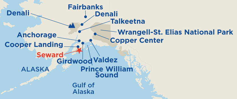map displaying the tour area